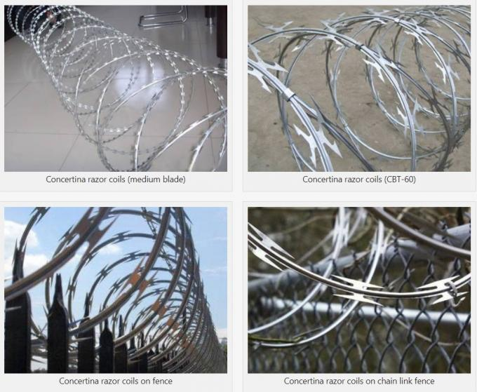Hot Dipped Galvanised Concertina Wire BTO - 22 Barbed Wire Mesh For Security Fencing