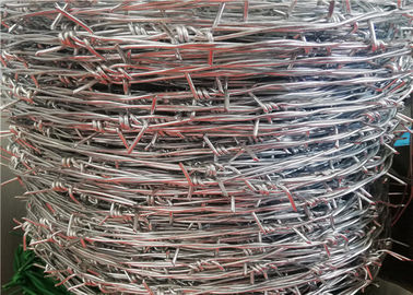 China 12 Ga 4 Point Stretching Security Barbed Wire / Galvanized Steel Bulk Barbed Wire factory